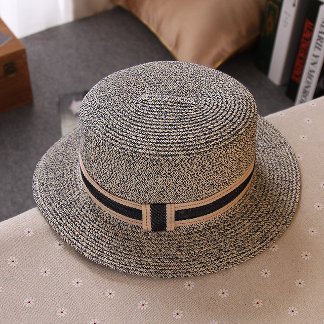 Hot Fashion Sun Hat Women s Summer Straw England Style Flat Top Hat Best  Option Outside Shade for Ladies Top Quality 8 Colors 38cf986901c