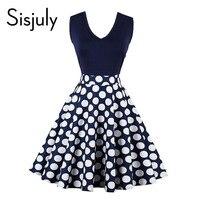 Sisjuly vintage dress 2017 women elegant polka dots patchwork a-line summer sleeveless elegant female fashion vintage dress