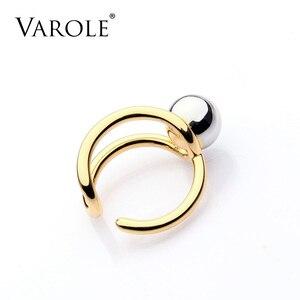 Image 3 - VAROLE moda podwójna linia Knotting Midi pierścienie dla kobiet złoty kolor srebrny 100% miedzi Anillos pierścień biżuteria Bagues Mujer Anel