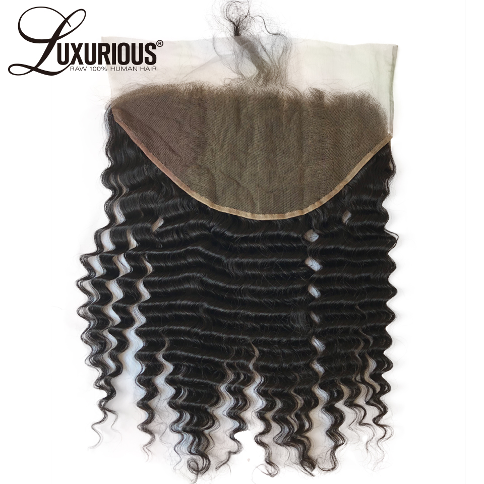 13x6 Lace Frontal Closure With Baby Hair Brazilian Remy Human Hair Pre Plucked Ear To Ear Lace Frontal With 6Inch Deep Parting