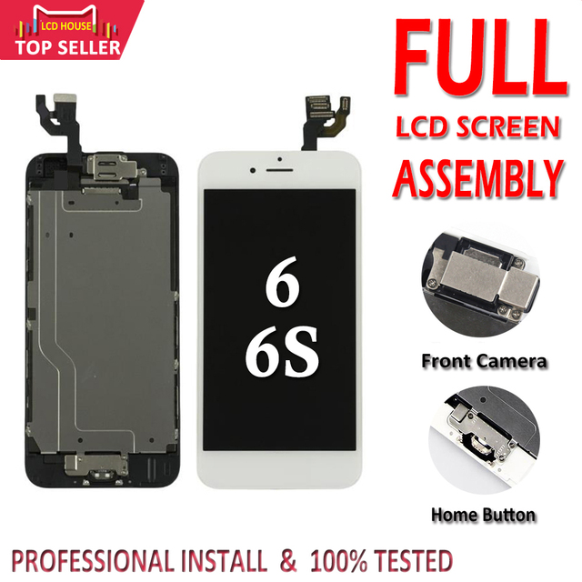 "AAA מלא סט 4.7 ""LCD תצוגה עבור iPhone 6 6S מלא LCD מסך מגע Digitizer הרכבה מלאה החלפה לחצן בית + מצלמה"