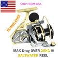Angler sonho pesca de mar de água salgada molinetes fiação 5.2:1 relação max arraste 20kg cnc metal fiação pesca carretéis tamanho 2500-5000