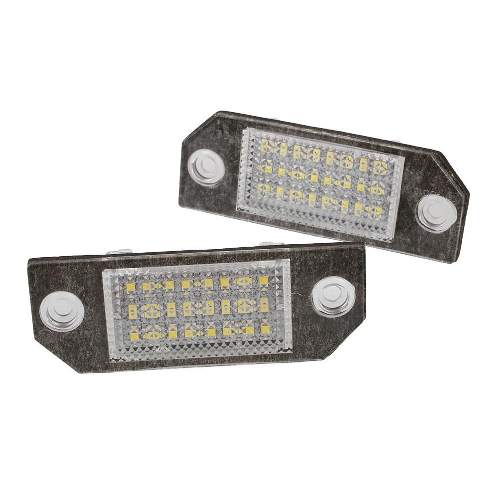 Vehemo 2Pcs White 24 LED Number License Plate Light Lamp for Ford Focus C-MAX 2pcs car led license number plate light lamp 6w 12v 24 led white light for ford focus 2 c max