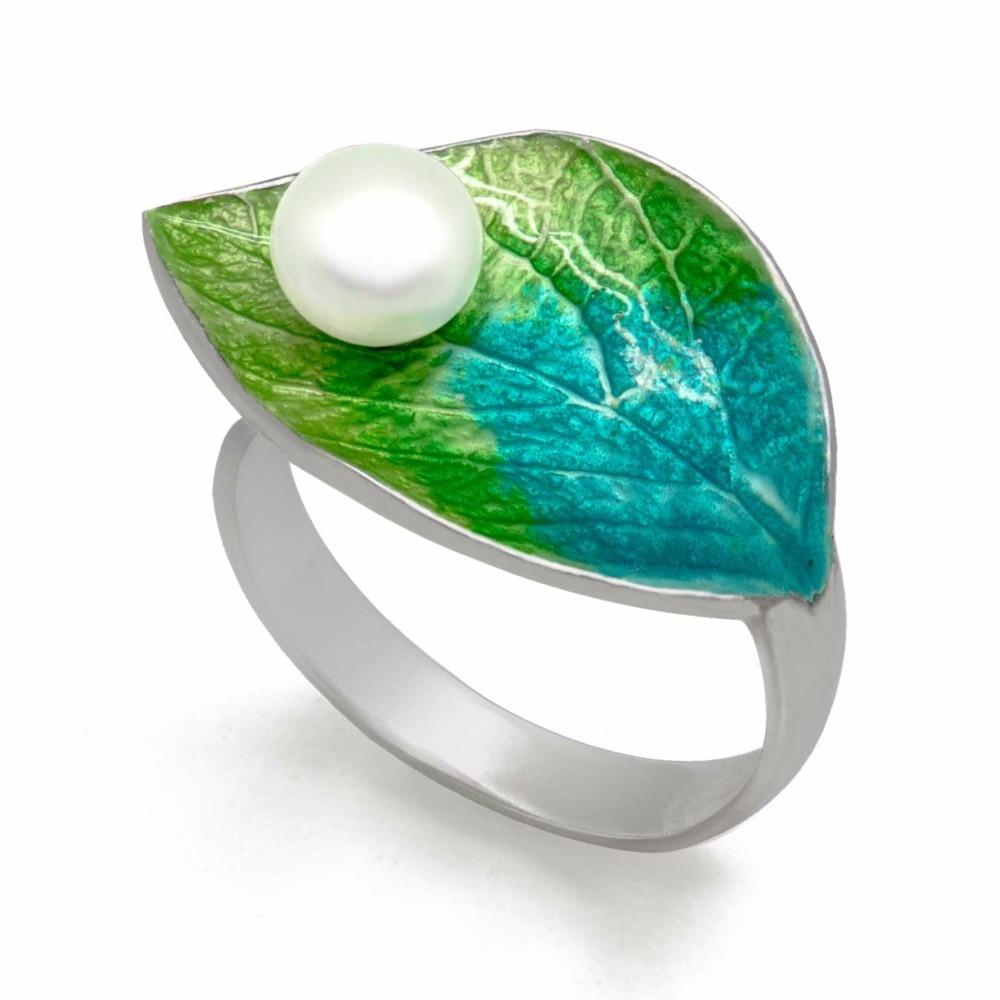 Hot Waterdrop On Green Leaf Handmade Cloisonne Enamel Natural Freshwater Cultured Pearl 925 Silver Adjustable Ring