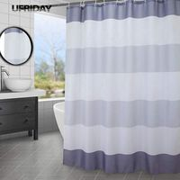 UFRIDAY White and Grey Striped Shower Curtain Polyester Bath Curtain with Hooks Waterproof Bathroom Curtain Bathtub Bath Screens