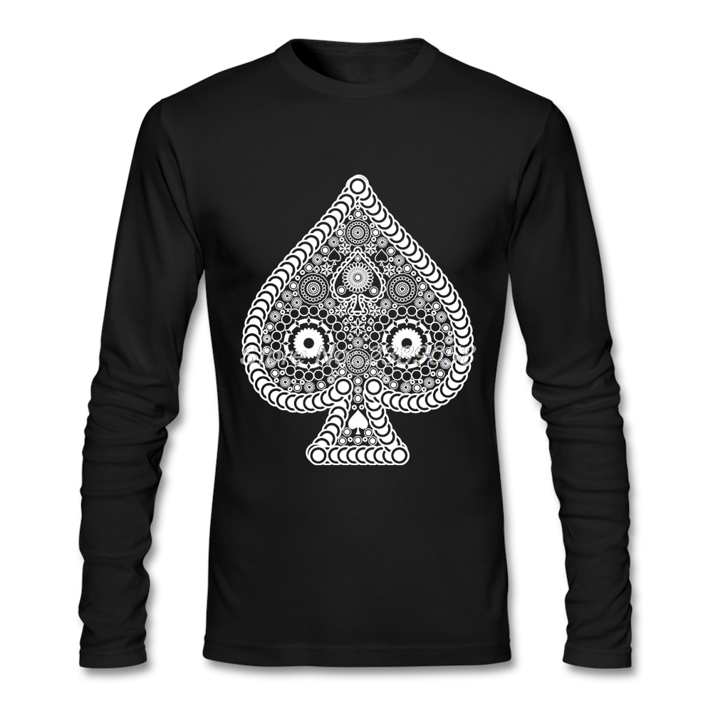 Men T Shirts Cool Casino Poker Card Spade Funny Camisetas Hombre Tee Luxury Brand Long Sleeve t-shirt Man