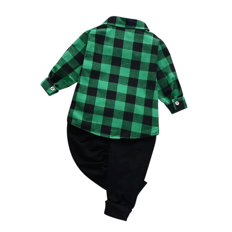 Childrens Clothing Spring/Autumn Fashion Plaid Childrens Sets Cotton Kids Boy Clothing Set Newborn Baby Boys Clothes