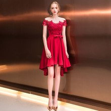 Bridemaids Dresses Red Off Shoulder Short Skirt Appliques Gown Fiesta Prom Dresses Quinceanera Robe Wedding Guest Dress TS905(China)