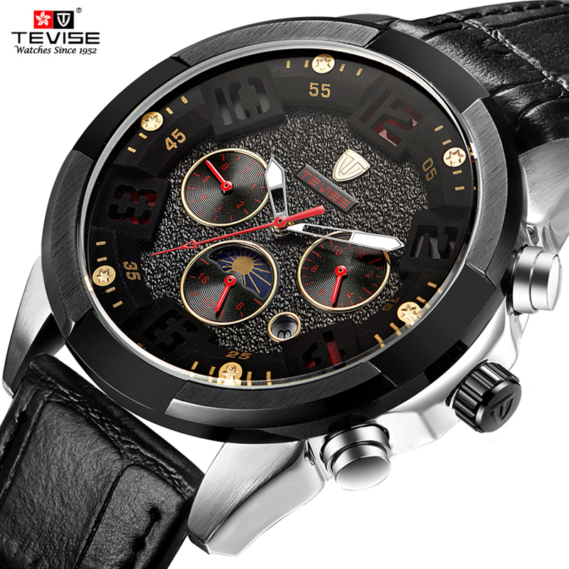 Tevise Luxury Fashion Brand Mechanical Watch Man Automatic Moon phase Watches Casual Waterproof Clock Masculino Relogio tevise fashion automatic watch men mechanical watches man self winding stainless steel band moon phase 24 hour clock n9036g