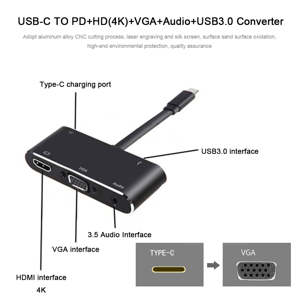 5 in 1 Type C to HDMI 4K Adapter VGA Cable Audio USB 3.0 PD Converter HUB