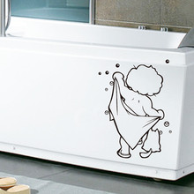 2018 New Bathroom Cute Kids Shower Art Stickers For Tiles Glasses Wall Decal Home Decor for
