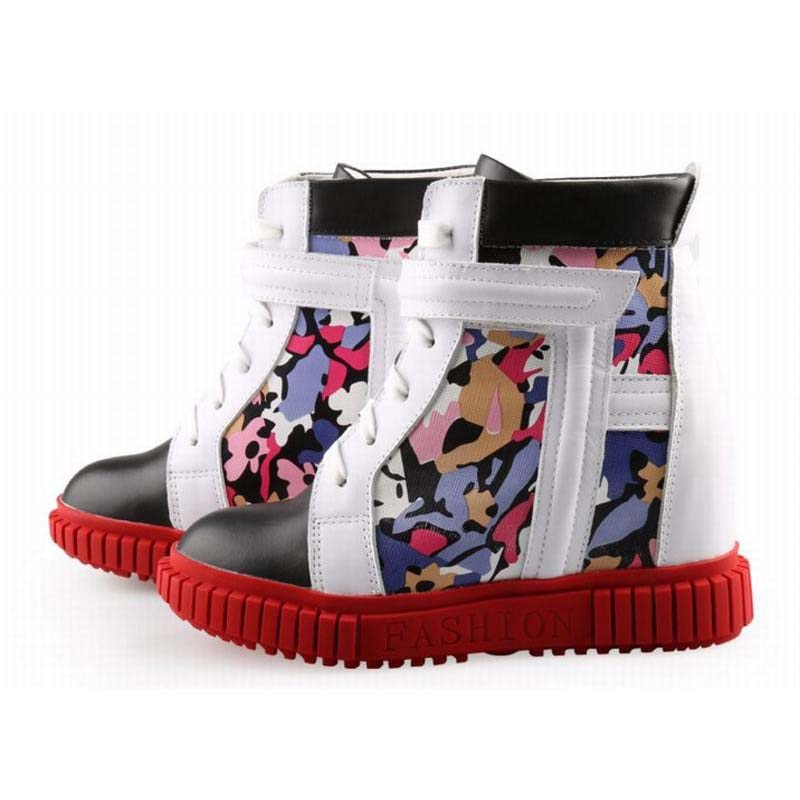 women flats high-top lace-up height increasing casual shoes fashion camouflage genuine leather patchwork elevator wedges boots