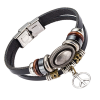 EVERLEAD Peace Sign Pendant Leather Bracelet Alloy Beaded Bracelet Bangle For Men Fashion Male Jewelry Black