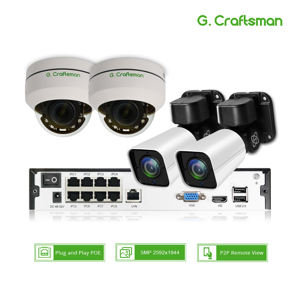 4ch 5MP POE PTZ H 265 System Kit CCTV Security 8ch NVR Outdoor Indoor Waterproof 2