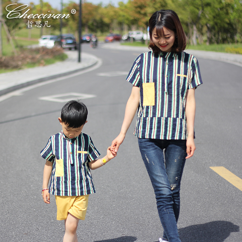 Family Patchwork Shirts Summer Fashion Mother and Child Clothes Daughter Short-sleeve Shirt Son Striped Tops Kids Good Outerwear family fashion summer tops 2015 clothers short sleeve t shirt stripe navy style shirt clothes for mother dad and children