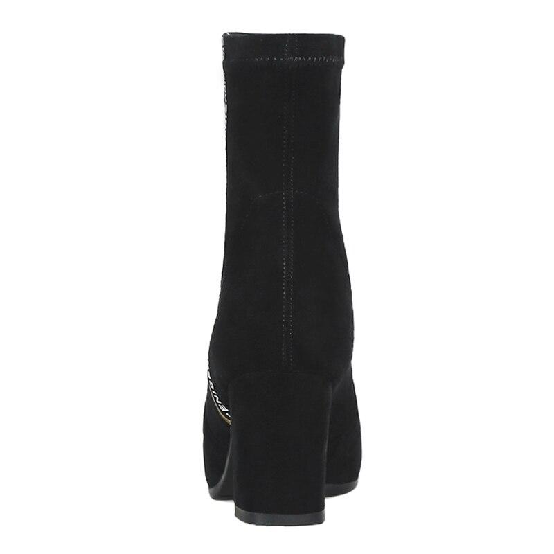 Black Bota Zapatos Microfiber Cuadrado Cortas Para Estrecha Felpa Tobillo Moda Botas Plush De Niña Mujer Alto short Punta Tacón Black zqw4WRxHvf