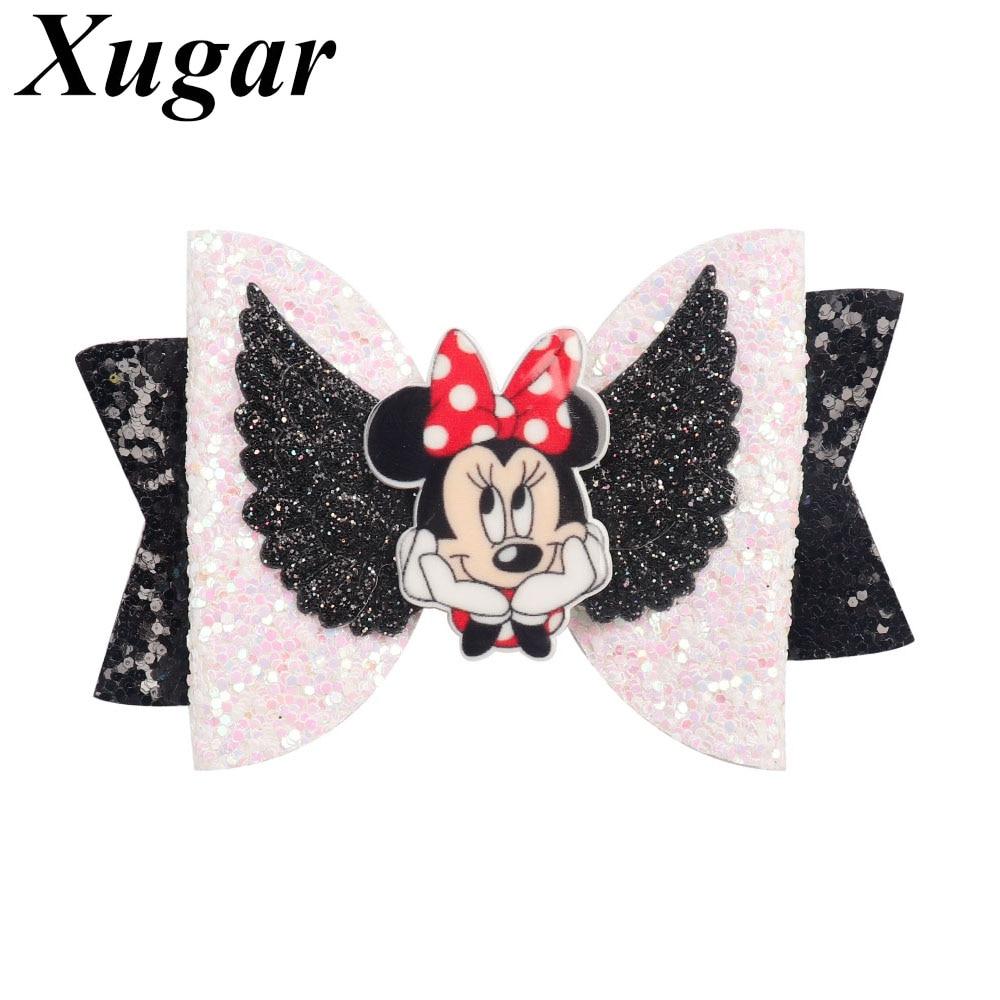 "Xugar 3"" Hair Accessories Kids Hair Bows With Cartoon Character Glitter Bowknot Hair Clips For Girls Princess Hair Barrettes"