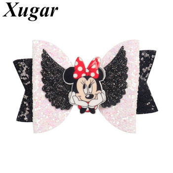 Xugar 3 Hair Accessories Kids Bows with Cartoon Character Glitter Bowknot Clips for Girls Princess Barrettes
