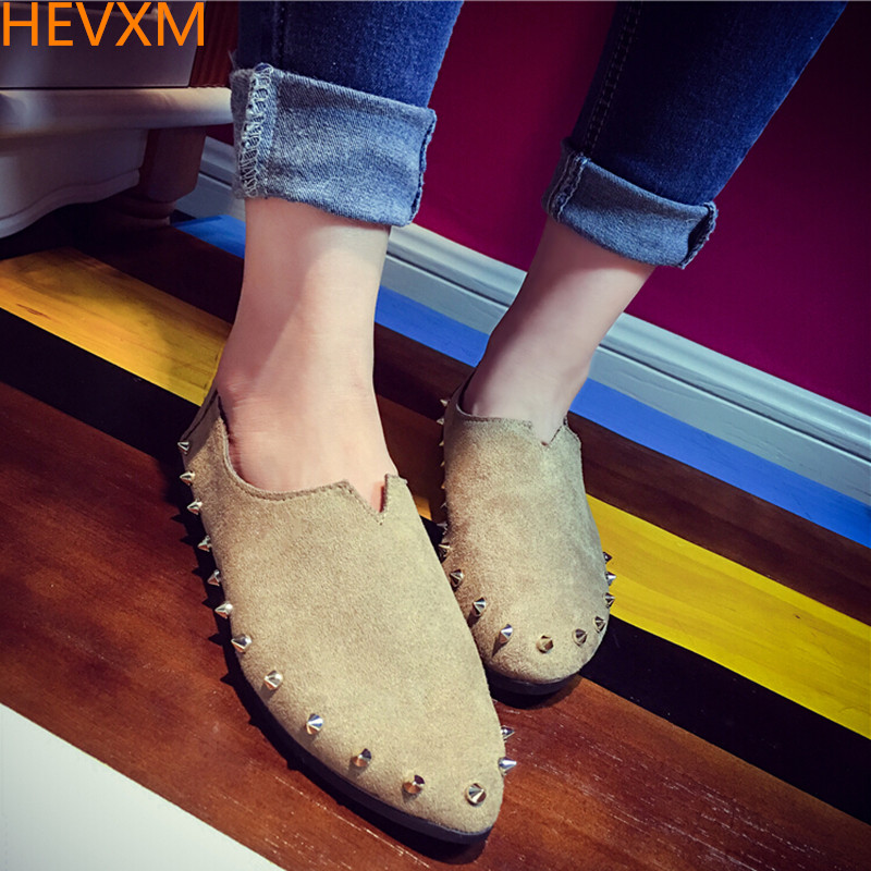 HEVXM 2017 spring autumn Korean new women fashion shallow mouth arrow rivets flat shoes student casual single shoes peas shoes 5pcs fashion furniture handles and knobs crystal glass door knobs drawer cabinet pull furniture kitchen handle wardrobe hardware