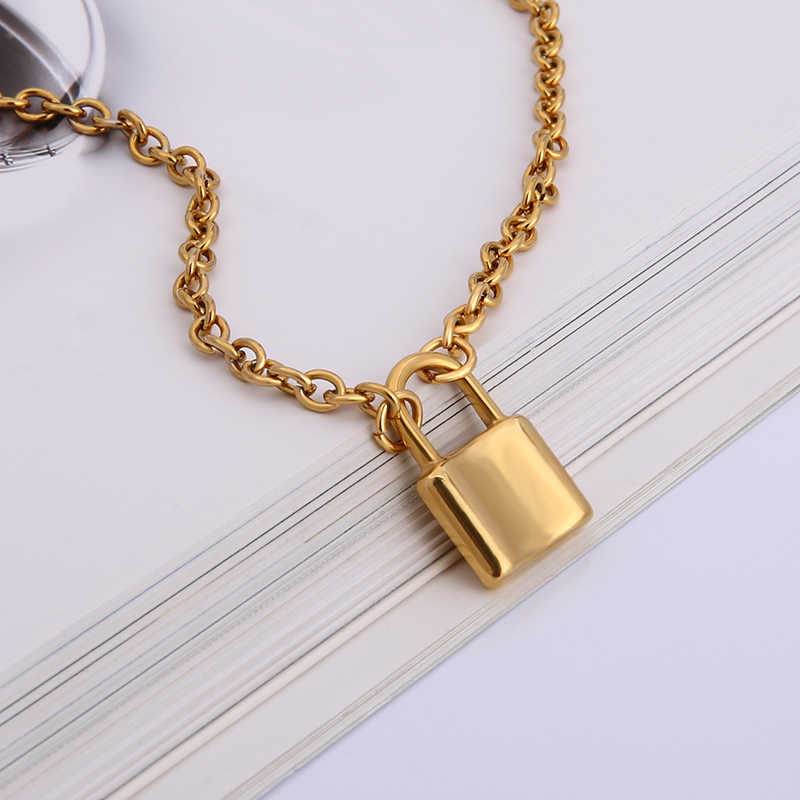 Men Women Jewelry Gold STAINLESS STEEL lock necklace padlock necklaces & pendants lock chain necklace Choker Metal Collar