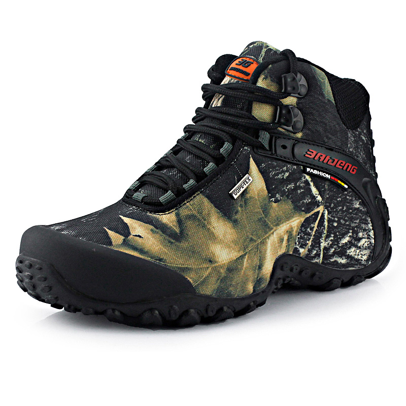Baideng Men Hiking Shoes Outdoor Sport Waterproof Hiking Boots Male Breathable Anti-skid Camo Trekking Shoes Camping Sneakers недорго, оригинальная цена
