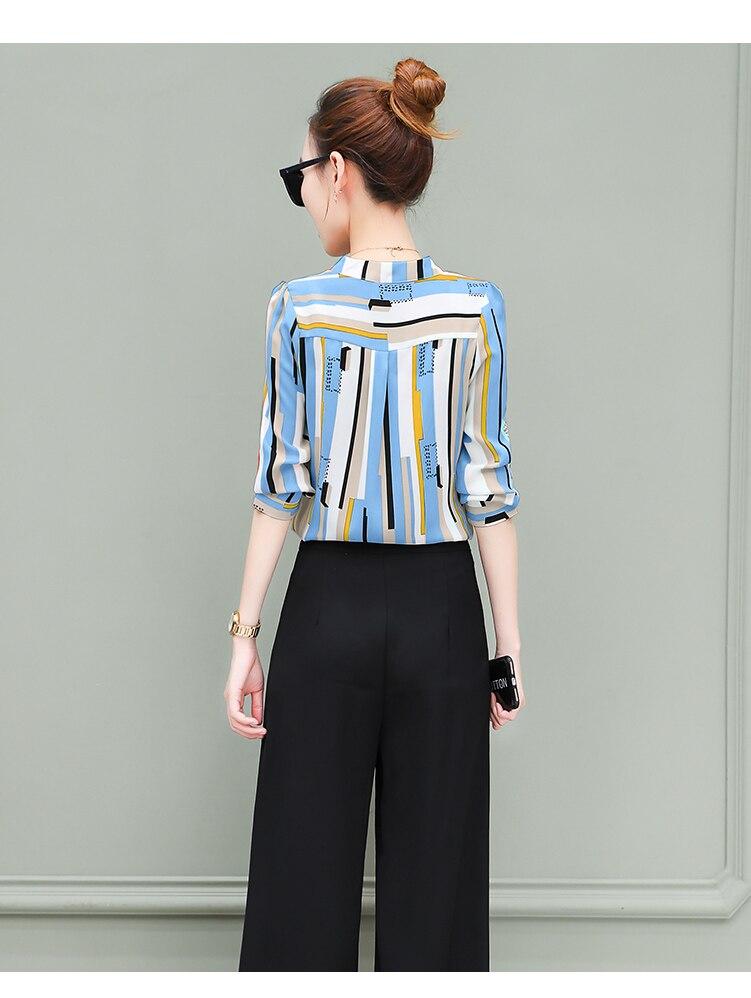 New OL suits 2018 summer Korean fashion stripe chiffon blouse top & wide-legged pants two pcs clothing set lady outfit S-4XL 20