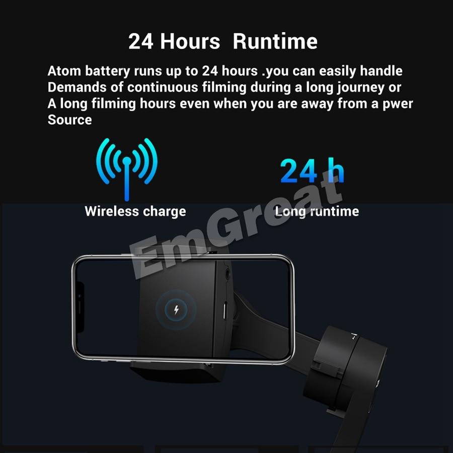 Estabilizador de cardán portátil plegable de 3 ejes para iPhone Smartphone GoPro y carga inalámbrica PK suave 4 - 4