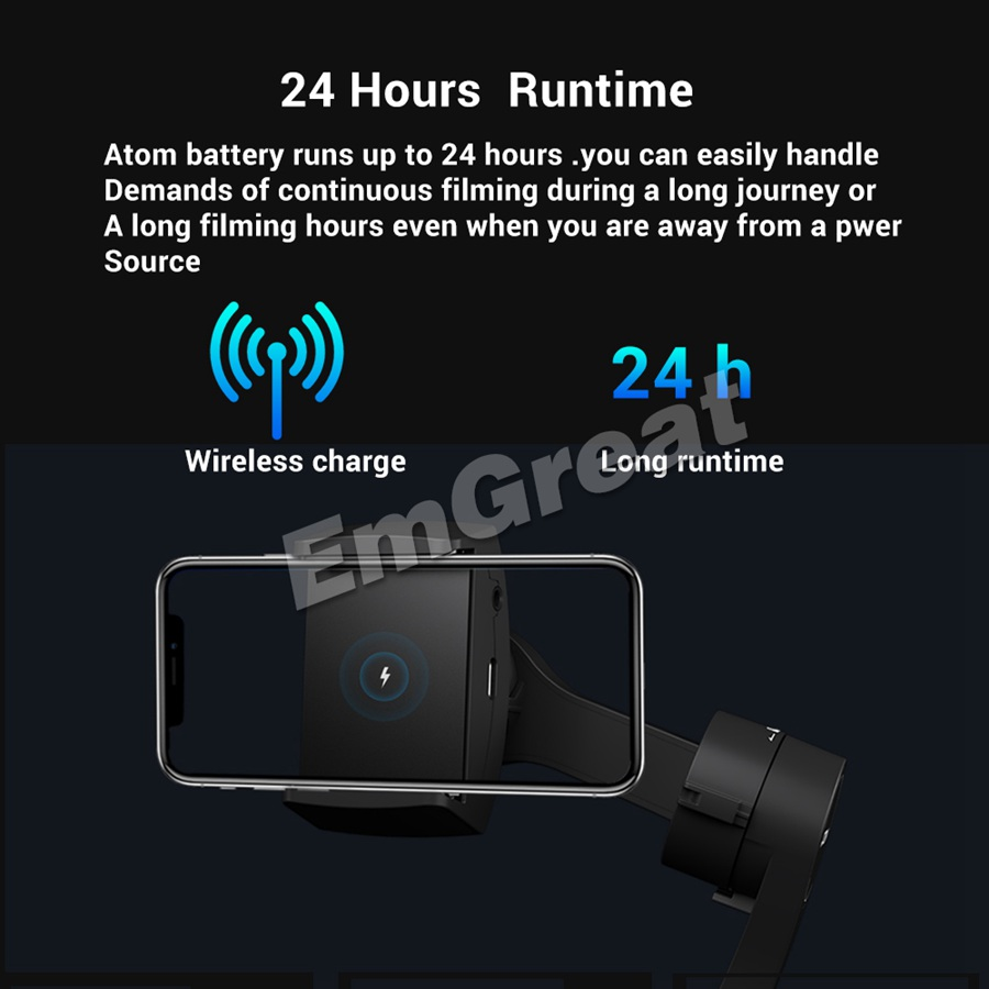 Stabilisateur de cardan de poche pliable à 3 axes Snoppa Atom pour Smartphone iPhone GoPro et charge sans fil PK lisse 4 - 3