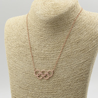 Wholesale Rose Gold Olympics Necklace 5 Circle Pendent 2016 Rio Souvenir Olympics Games Jewelry