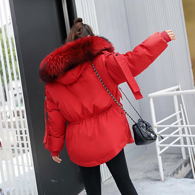 Fitaylor Parkas mujer 2019 Krótka kurtka zimowa kobiety z kapturem zima płaszcz kobiety luźne Parka futro kołnierz bawełna kurtka Watowana