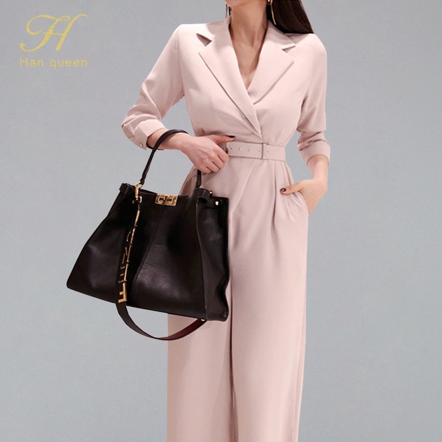 H Han Queen Elegant Belted Waist Business Jumpsuits Women 2019 New Notched Neck Wide Leg Long Playsuits Casual Work Wear Rompers
