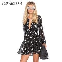DOMODA Solid Black Stars Printed Women Dress Long Sleeve V Neck Sheer Mini Dress Fashion Sexy