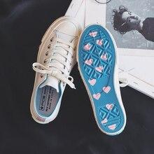 White Shoes Women Girls Sweet Sneakers Heart Shape on Sole Lady Canvas