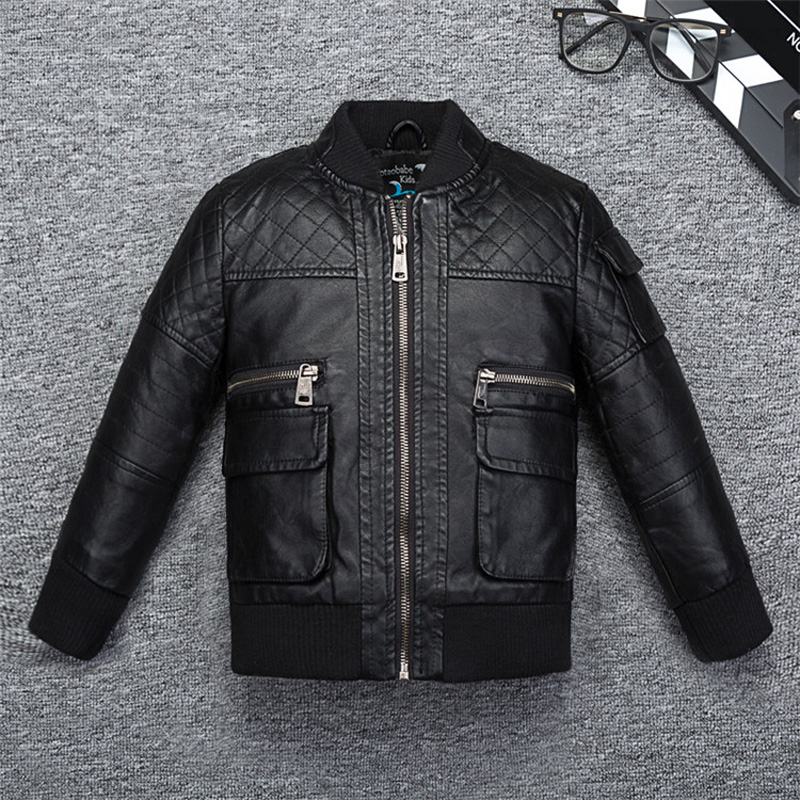 Cool Design Grip Boys Leather Jacket Stand Collar Windbreaker Leather for Fall Spring Kids Motor Coat Bomber Clothes elegant stand collar pockets design pure color coat for men