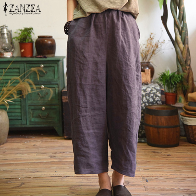 ZANZEA Plus Size 2020 Summer Women Pants Vintage Elastic Waist Trousers Casual Loose Wide Leg Streetwear Baggy Pantalon Femme