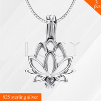 Top Selling Women Lotus 925 Sterling Silver Necklace Cage Pendant Pearl Locket Pendant 3pcs