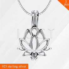Mejores Ventas de Las Mujeres de Loto 925 Collar de Plata de ley Pendiente de la Jaula de Perlas Medallón Colgante 3 unids