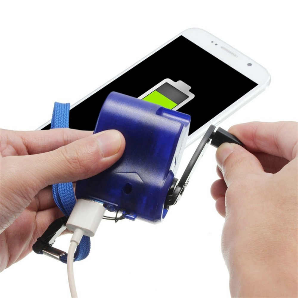 الأزرق USB السفر شاحن هاتف الطوارئ دينامو اليد دليل شاحن البلاستيك والعنصر الإلكتروني الساخن