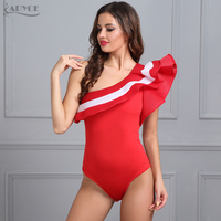 Adyce 2017 Sexy Summer Women Short Rompers Black Red White One Shoulder Bodysuit Celebrity Party Bandage