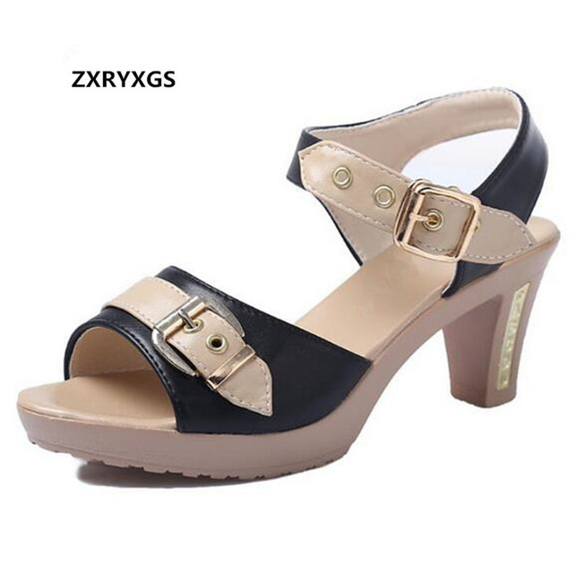 ZXRYXGS Brand Sandals Summer Women Shoes Sandals 2019 Big Size Real Leather Fashion Sandals High Heel Shoes Summer Women Sandals