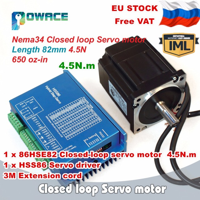 [RU Delivery] Nema34 4.5N.m Closed Loop Servo Motor 82mm 6A &2HSS86H Hybrid Step-servo Driver CNC Controller Kit 8A