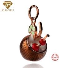 цена на Zhaoru 925 Sterling Silver Enamel Pendant Charm Fit Pandora Bracelet & Bangle & Necklace DIY Fine Jewelry Charm None Stone
