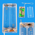 Battery Box Clear Color with Cover Case holder ON/OFF Switch for 2 AA 2AA 3V OutPut Batteries