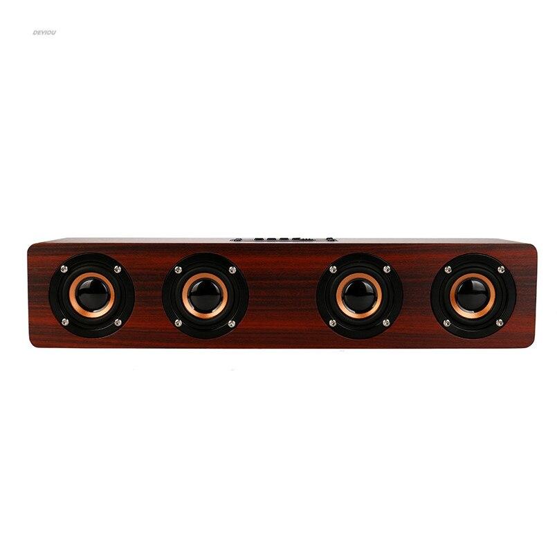 Wireless Bluetooth Super Bass Stereo Speaker Retro Wood Speaker player column DEYIOU