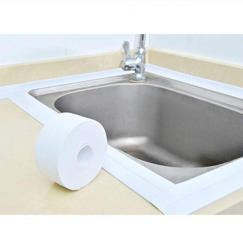 Home PVC Material Sink Crack Strip Kitchen Bathroom Bathtub Corner Sealing Tape Waterproof Mold Seal Strip Foam Adhesive Tape