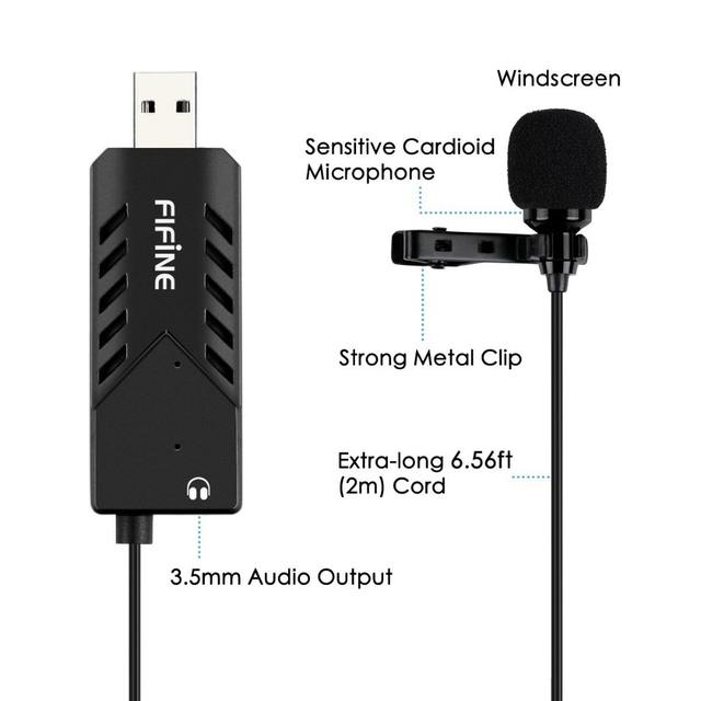 Plug and play computer microphone Clip-on cardioid condenser USB microphone with sound card for PC and Mac