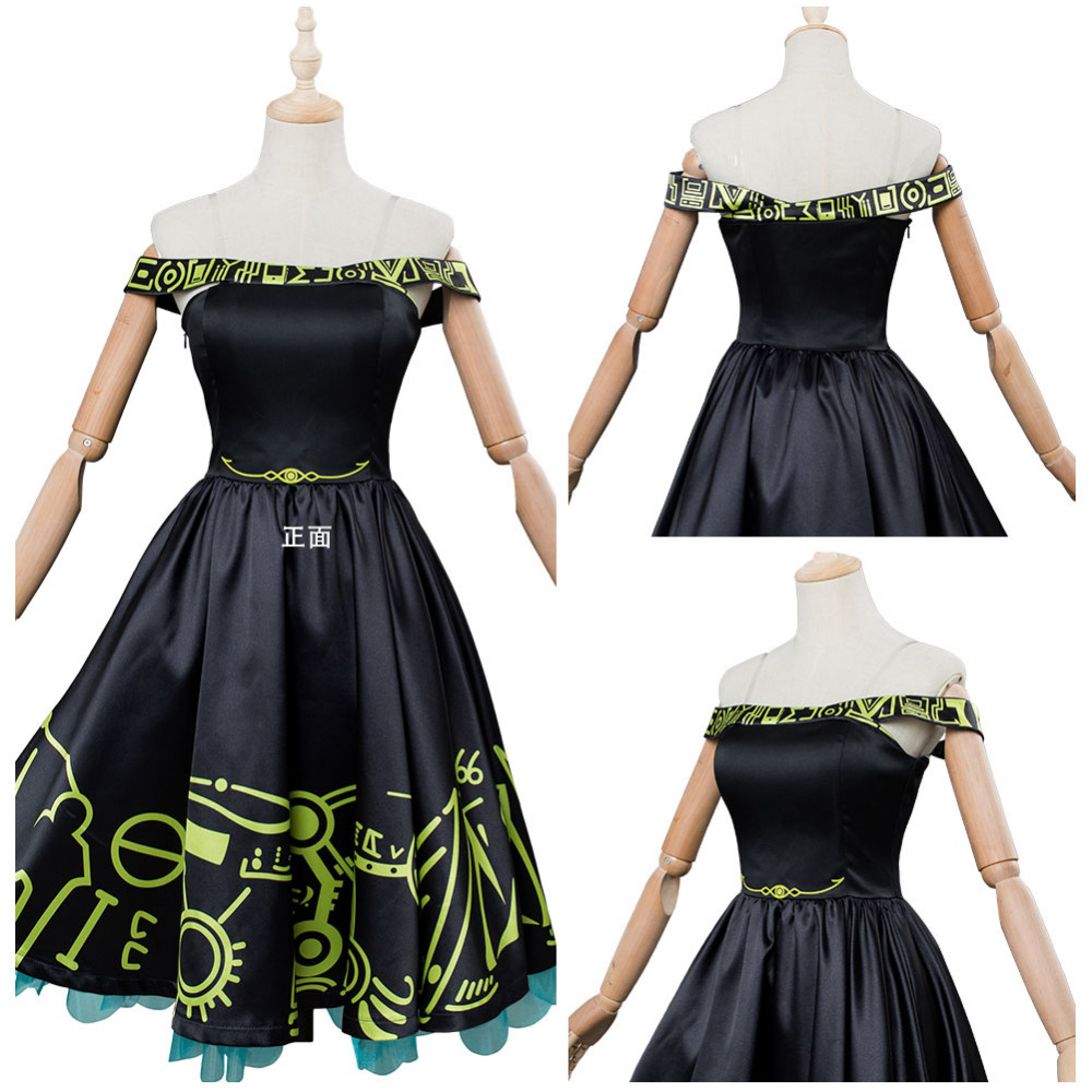 Persona 5 Futaba Sakura Cosplay Costume Masquerade Party Outfit Black Midi Dress Halloween