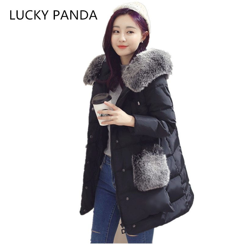LUCKY PANDA 2016 WOMAN  big feather padd  female coat size long paragraph knee thickening really big fur coat LKB049 эхолот lucky ffw718li