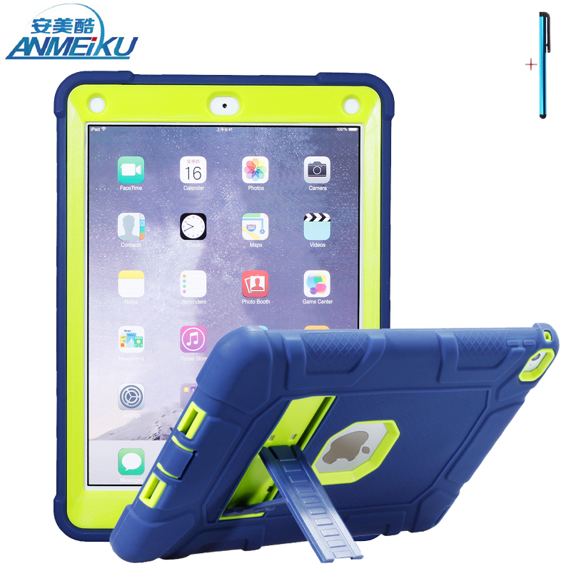 For iPad Air 2 Case Silicone PC Hard Shockproof Heavy Duty Armor Kids Safe Protective Tablet Case Cover For iPad 6 Case 9.7 inch heavy duty shockproof protective hard case kids safe luxury stand silicone rubber armor back cover for ipad air 2 qjy99