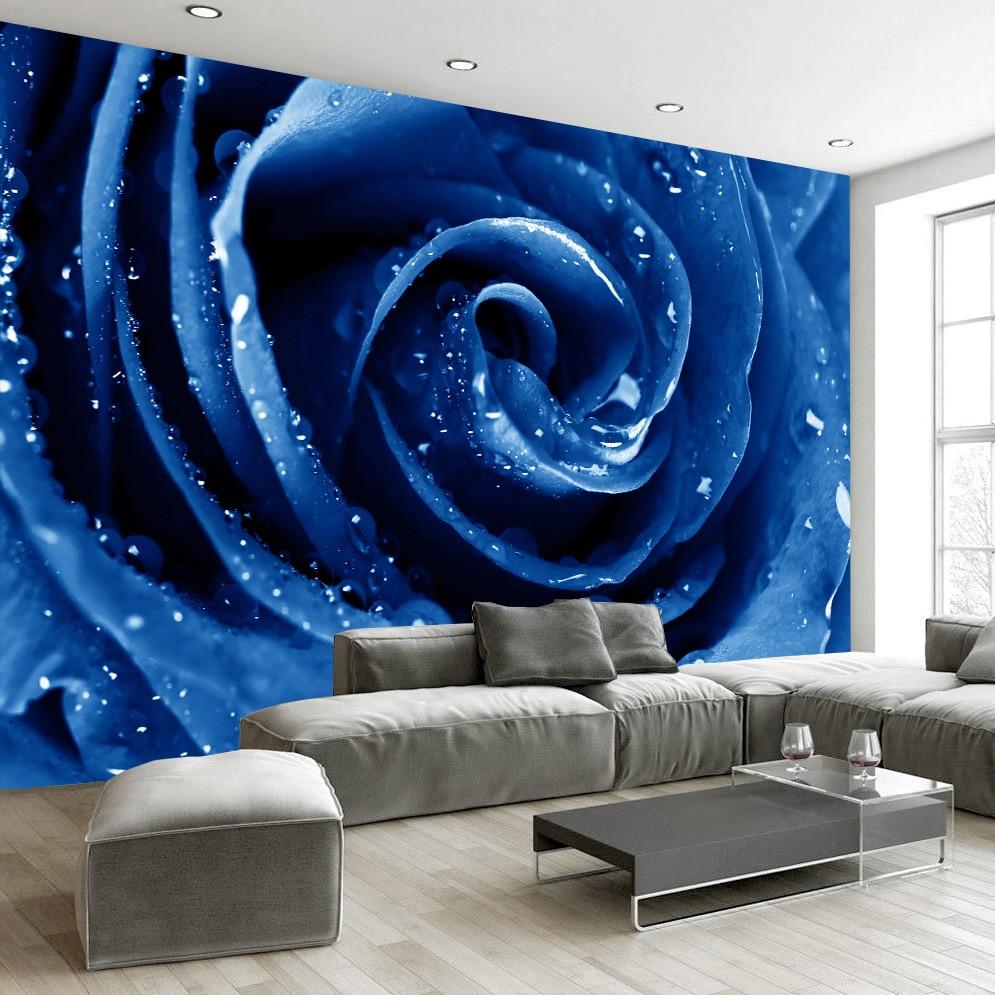 Us 8 77 53 Off Flower 3d Wallpaper Custom Mural Non Woven Wall Paper High Quality Red Blue Rose Living Room Bedroom Wallpaper Home Decor Modern In